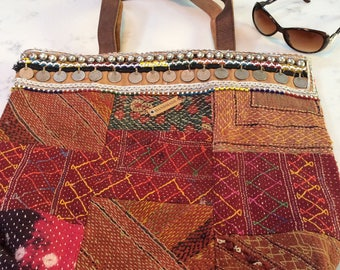 Boho/ gypsy style shopper/Beach bag/Tote bag leather handles