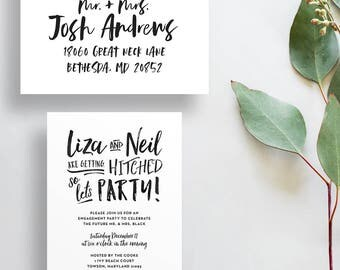 engagement party invitations // engagement party invites // modern rehearsal dinner invites // brush hand lettering // printable custom