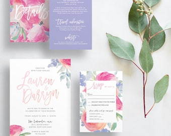 tropical floral wedding invitations // pink periwinkle watercolor wedding invites // brush lettering // PRINTED wedding invites custom