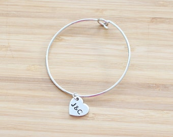 hand stamped charm bracelet | small heart
