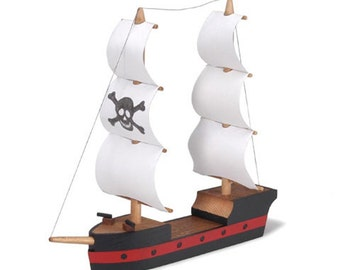 "4.25"" Wooden Pirate Ship Assembly Kit- SKU # DC-9181-32"