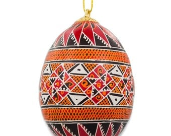 Mateivtsi Chicken Size Blown Real Ukrainian Easter Egg Pysanky Ornament- SKU # BL-ORN-17