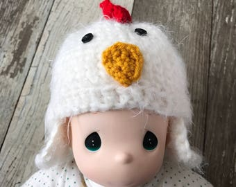 Crochet newborn chick hat