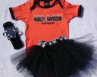 HARLEY DAVIDSON - Born To Ride - Orange/Black 4 Piece Tutu Set