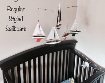 Sailboat Mobile; Wooden Nursery Mobile