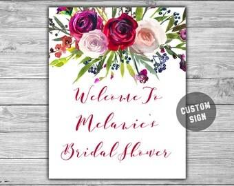 Custom - Bridal Shower - Welcome Sign - PRINTABLE - DIY - Floral - Watercolor - Bridal Shower Sign - L43