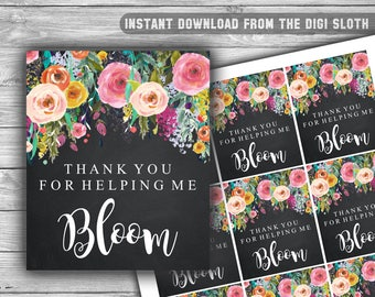 Thank You For Helping Me Bloom - Tag - Thank You Tags - Teacher Appreciation - Floral - Chalkboard - INSTANT DOWNLOAD - PRINTABLE - T03