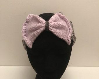 Purple and grey women ear wormer, purple lilac bow