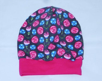 Beanie Hat KU 51-54 rose of flowers pink flowers