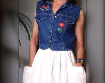 Jacket sleeveless shirt denim vintage french 90 s embroidered flowers (S/36)