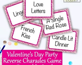 Valentine's Day Party Reverse Charades, Valentine's Party Game, Printable Party Game, Printable Charades Cards, DIY Group Party Game