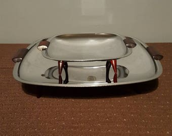 Retro Glo Hill Gourmates Chrome and Cherry Red Bakelite Serving Trays