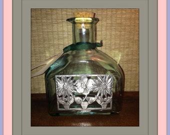 Pewter on Glass Stoppered Pour Bottle / Honey Jar / Maple Syrup / Vinegar
