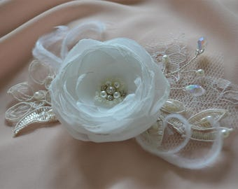 Bridal hair comb ivory lace hairpiece wedding hair flower wedding headpiece bridal fascinator lace feather hairpiece