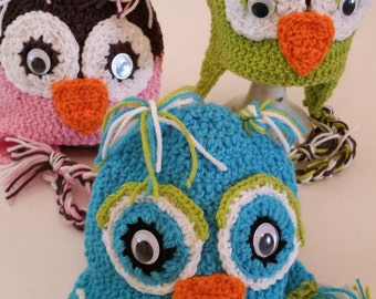 Crochet Character Hats, Crochet Animal Hats, Owl Hats, Ear Warmers, Earflap hats