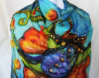 Blue Persian Flower Hand painted Silk Scarf, Square Scarf, Crystals, gold hand paintings, blue and orange