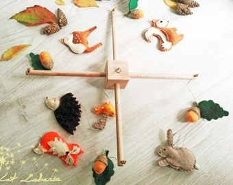 Baby Crib Mobile, Woodland Animals, Handmade Baby Mobile, Nursery Decoration, Baby Shower Gift, Hanging Mobile, Fox Mobile, Acorn Mobile