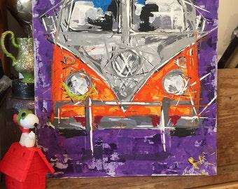 VW Camper // camper van Painting //orange vw camper // camper van art // I adore Vdubs // Hippy summer // Acrylic painting 1 of 3 //