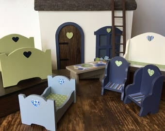 Wooden Doll House Furniture, Handmade, Painted Wooden Dollhouse Furniture (Blue/Green)