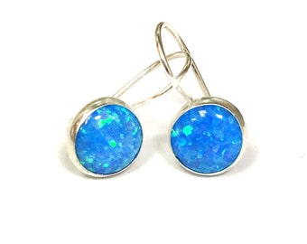 Opal Drop Earrings | Opal Dangle Earrings | Blue Opal Earrings | Drop Earrings | Dangle Earrings | Opal Earrings | Blue Opal Jewelry