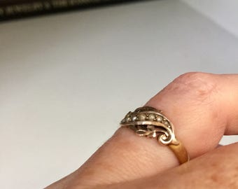 Antique Edwardian 18k gold & seed pearl scrollwork leaf ring, Anniversary, Wedding, Bridal, Gift, Jewelry, Jewellery, Love Token, Engagement