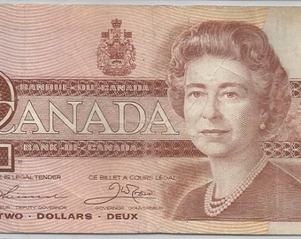 1986 Canada 2 Dollars Two Dollars Bank Note