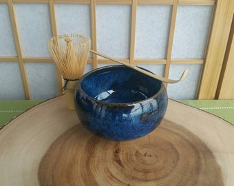 Blue chawan set, matcha teabowl for Japanese tea ceremony with bamboo whisk and spoon