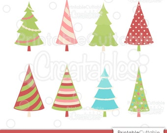 Christmas Tree SVG Cut File & Clipart Set ES024 + FREE Bonus Polka Dot Christmas Wreath - Includes Limited Commercial Use!
