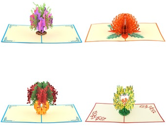 4 Unique Design Pop Up Cards Love -Happy birthday- Colorful Flower Vase-Valentine-3D Paper Flower Greeting Cards-Mother day Card