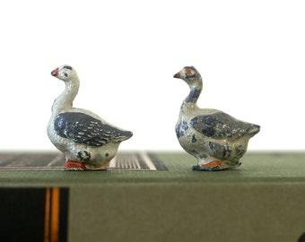 Miniature Geese - Vintage 1930's Metal Toys - Miniature Birds - Diecast Lead - Miniature Toys - Metal Toys