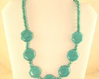 Turquoise Octagon and Rounds Necklace
