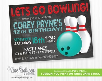 Birthday INVITATION Bowling party. Customized Printable pdf and jpg. I design you print.