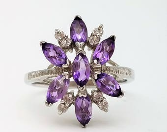 Marquise Cut Amethyst Flower Ring – Size 8.5, Resizable