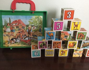 Vintage Childrens Counting/Alphabet Blocks and Puzzles from Germany