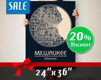 MILWAUKEE Wisconsin CANVAS Map Milwaukee Wisconsin Poster City Map Milwaukee Wisconsin Art Print Milwaukee Wisconsin poster Milwaukee