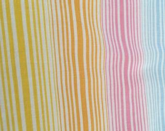 Vintage 1980's rainbow stripe flat twin sheet! Free shipping !