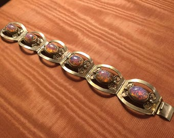 Mexican Silver and Fire Glass Opal 7 inches Bracelet