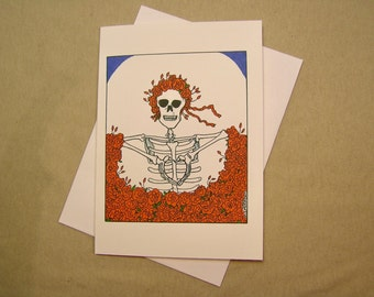 Grateful Dead All-Occasion Card. Skeleton Shows Heart. Regular size and mini-version. A Lunar Eclipse cartoon greeting card.