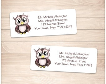 """Printable Owl Address Labels - Cute Pink Brown Adorable Owl - Personalized 2 5/8"""" x 1"""" Address Labels DIY Editable PDF - Instant Download"""