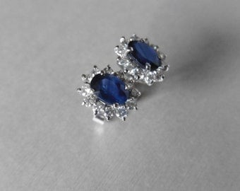 Sapphire and diamond cluster style earrings