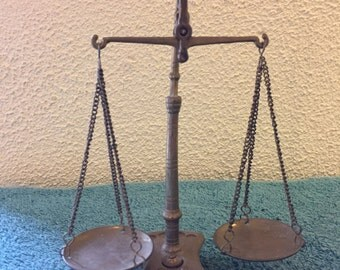 Stunning Set of Vintage Brass Jeweller's Scales, Made in France
