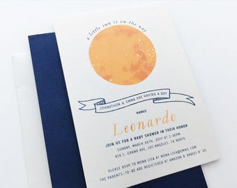 Constellation Baby Shower Invitation / Modern Baby Shower Invite / Sun and Stars Zodiac Invite / Mommy to Be Shower Unique Invitation SAMPLE