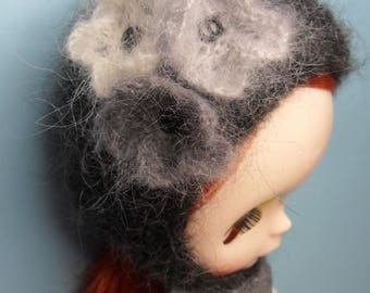 BLYTHE DOLL -- Knitted Hat in soft Mohair Mix Yarn --