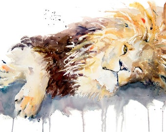 """Lion """"Sleep with One Eye Open"""" - Limited Edition Mounted Giclee (65 x 50cm) Watercolour print from an original watercolour by Karen Thomas"""