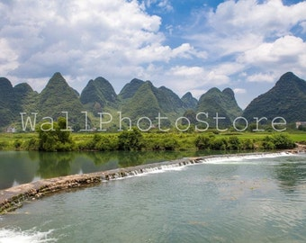 Landscape Photography, China Photography, Li River Yangshuo Limestone Mountains. Asia photography, China Print, Travel Photography