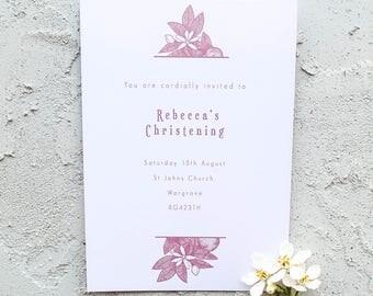 Orange Blossom Personalised Christening Invitation