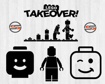 Lego Man SVG, Legos, Lego Head, DXF, Lego Bricks SVG-Cutting File, Clip Art, Cricut, Cameo,Silhouette, Instant Download, T-shirt Transfer