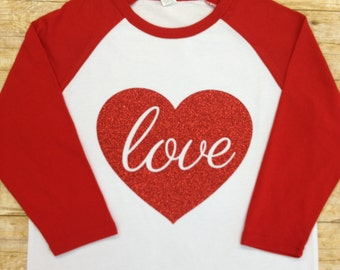 Valentine 3/4 Sleeve Raglan Shirt, Love Sparkly Red Heart, Valentine's Day Shirt, Family Shirt