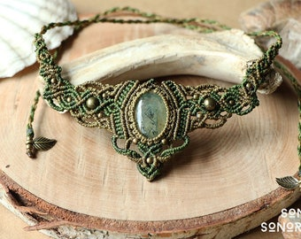 macrame collar / necklace with prehnite & brass beads olive khaki
