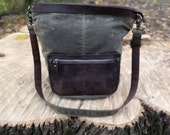 Convertible Mini Vintage style Leather Canvas Backpack/Crossbody ( Olive)
